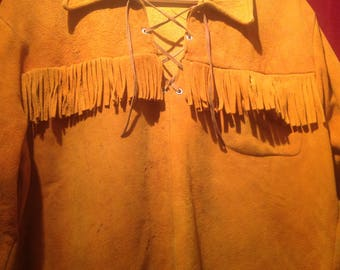 1940s / 50s Rare  Western Wear Shirt/   ALL SUEDE  / Ranch wear Long sleeve ALL Suede Shirt.