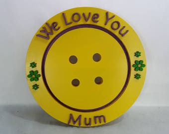 Pretty we love you mum sunny yellow button pretty purple painted wooden letters shaped wall hanging gift birthday mothers day easter xmas