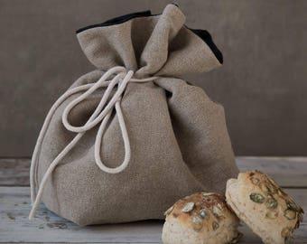 """Linen bread basket, natural raw grey linen bread basket, natural- black storage bag, natural grey linen- white Tyvek storage basket 15""""x 12"""""""