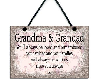 Grandma and Grandad Remembrance Handmade Wooden Home Sign/Plaque 305