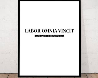 Labor Omina Vincit, Latin Print, Office Decor, Latin motivational poster, motivational art, Latin wall art, Hard work art print