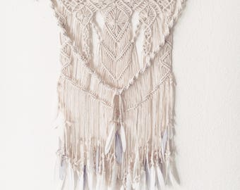 Goose feather Macrame wall hanging