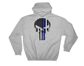Thin Blue Line Punisher Hooded Sweatshirt