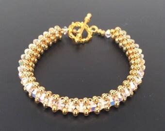 Clear Crystal bracelet, Crystal bracelet, Swarovski Crystal Bracelet, Gold Bracelet, Swarovski Bracelet, Woven Bracelet, Beaded Bracelet