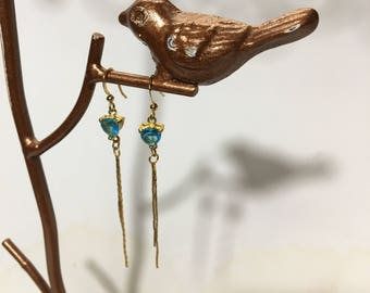 drop earrings in gold and blue stone