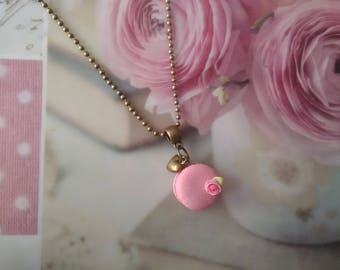 Orchid pink macaroon necklace polymer clay