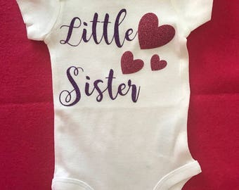 Little Sister Bodysuit , Coming Home Outfit, Girls Bodysuit, Baby Shower Gift