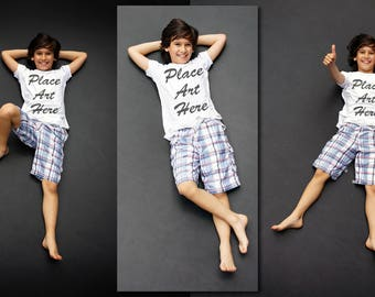 Dollar Sale ~ Boy Child T-Shirt Mock-up Set 3 JPEG | Styled Photography Stock Images | Showcase Your Tshirt Line with Style | Downloadable