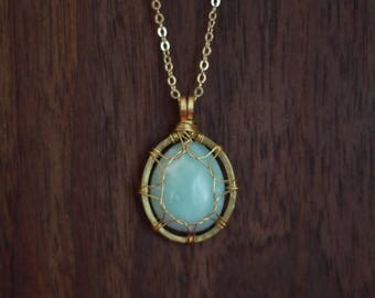 Amazonite Stone in brass setting, on 14k gold plated chain