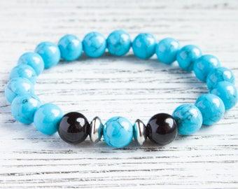 Long Distance Gift Blue Men Jewelry Blue Bead Bracelet Trendy Turquoise Bracelet Girlfriend Bracelet Cousin Bracelet Men Beads Birthday Gift