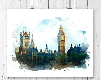 London Big Ben Watercolor Fine Art Print, Poster, Wall Art, Home Decor, Kids Wall Art, Play Room Wall Art, Office Wall Decor