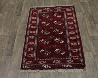 Beautiful Handmade Small Turkoman Ghoochan Persian Area Rug Oriental Carpet 3X5