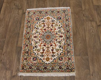 Excellent Hand Knotted Small Light Kashan Persian Rug Oriental Area Carpet 2X3ʹ6