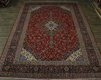 Stunning Hand Knotted Traditional Kashan Persian Rug Oriental Area Carpet 10X14