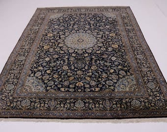 Excellent Handmade Unique Navy Kashmar Persian Rug Oriental Area Carpet 10X13