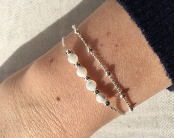 Double strap BETTY: bracelet in silver and mother of Pearl