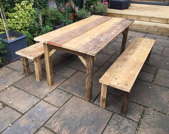 Reclaimed Scaffolding Board Farmhouse Dining Table / Garden Table and 2 Timber Benches