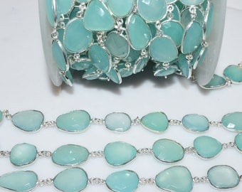 Aqua Chalcedony Connector Chain - Chalcedony Faceted Station Link Connector Bezel Chain, Sold By Foot, 15 - 18 mm - RB5738