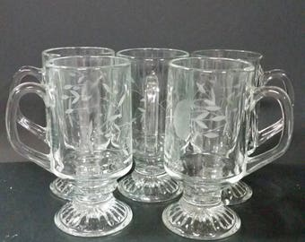 Vintage etched glass pedestal coffee mugs