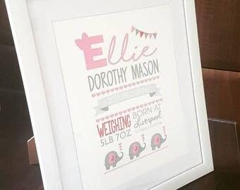 Children's Name Details Framed Art Decor, Personalised Framed Baby Name, Elephant, Design, Beautiful Details, Baby Name & Details Gift