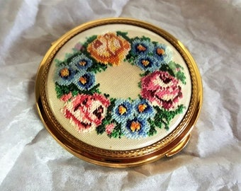 Vintage Compact KIGU London Petit Point Cover Never Used Slide Lock for Powder Section
