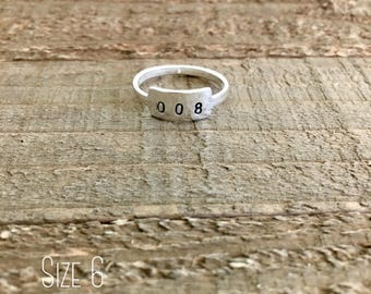 Stranger Things ring-Sterling silver ring-Eight ring-008 ring-handstamped ring-gift