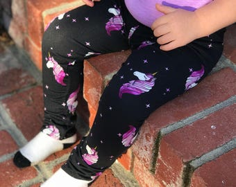 Unicorn leggings - purple unicorn - black unicorn leggings - girl leggings - toddler leggings - unicorn birthday outfit