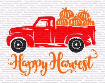 Happy Harvest Truck 2017, svg, cut, file, decal, vector, pumpkin, Fall, Thanksgiving, holidays, silhouette, cricut, clipart, files, design