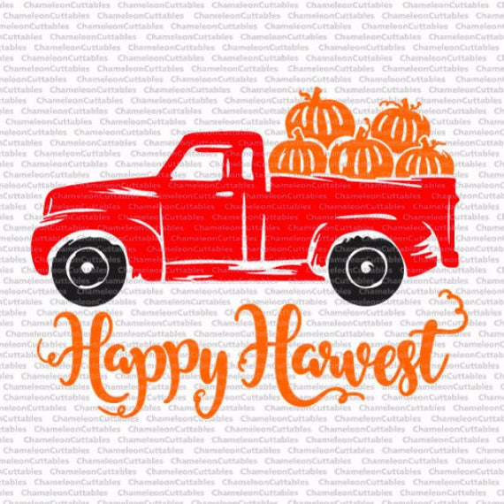 Happy Harvest Truck 2017 Svg Cut File Decal Vector