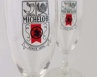 MICHELOB BEER FLUTE, vintage glass, ale retro drinking, stemware, 022