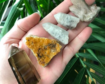 5 piece crystal/altar kit (smoky citrine, iron oxide quartz, hematite candle quartz, milky quartz with smoky quartz inclusions)