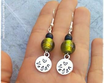 Vegan Earrings, Vegan jewelry, Vegan gift, gift for vegan, Vegan message, Animal rights, Veganism, vegan accessories, Lampwork beads, beaded
