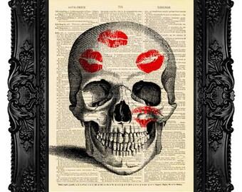 Boyfriend Gift for Husband Gift  Him Love art print Skull with Kiss Marks Love Home art Love print decoration wall art Valetine Gift 031