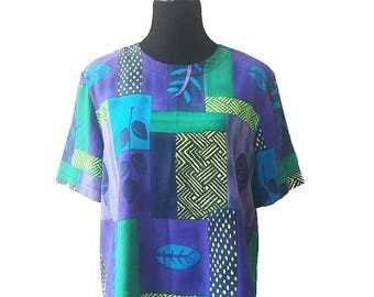 Kathy Ike Vintage 1980's Tribal Top / Blue, Green, Purple, and Turqouise Top / 80's Short Sleeved Shirt / Summer Shirts