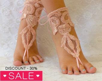 Pink Peach Barefoot sandals, beach wedding barefoot sandals, barefoot sandles, wedding barefoot sandals lace barefoot sandals