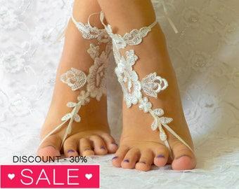 Lace shoes, Bridal sandals, France Lace Anklet, Lace Wedding Shoes, Beach Wedding Barefoot Sandals, Beach Shoes, Beach Sandals 06