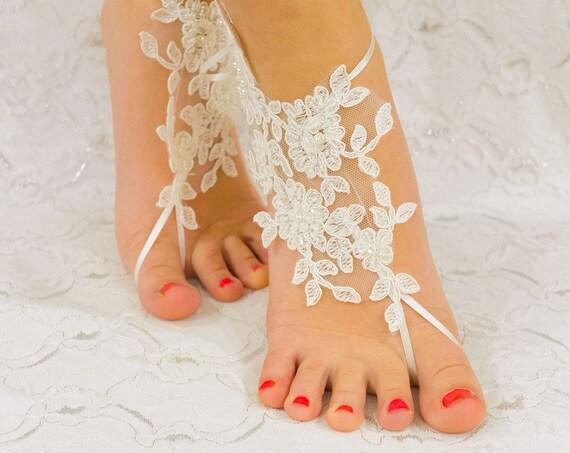 Beach wedding barefoot sandals, France Lace Anklet, Lace Wedding Shoes, Wedding Barefoot Sandals, Beach Shoes, Beach Sandals