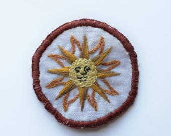 Sunface hand-embroidered sew-on patch