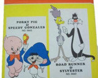 Vintage 1970's Road Runner & Sylvester tri-chem Transfer Patterns No. 0663