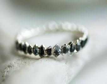 Black Herkimer Eternity Wedding Band Ring. Herkimer Band Ring. Herkimer Eternity Ring. Herkimer Ring. Eternity Ring. Wedding Band Ring.