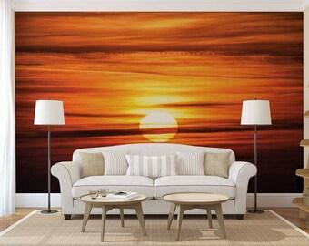 Wall Mural Desert, Sun Wall Mural, Wallpaper Desert, Sunset Wall Decal, Desert Wall Mural