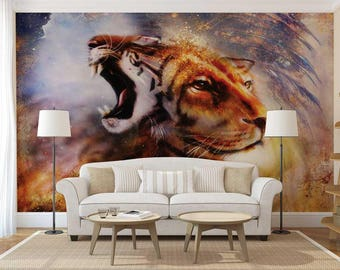 Wallpaper Abstract, Wall Decal Animals, Wallpaper Animals, Wall Mural Fantasy, Wall Mural Painting