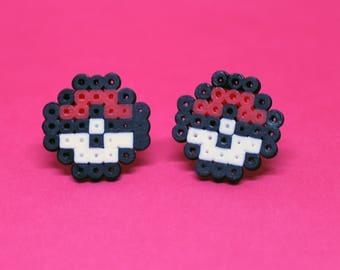 Pokeball Stud Earrings - Mini Perler Beads