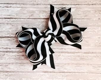 Boutique hair bows, hair bows, black and white hair bow, large hair bows, black and white stripes hair bow, summer hair bows