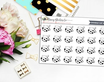 Doodle Cat in Mug Planner Stickers | for use with Erin Condren Lifeplanner™, Happy Planner