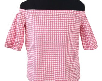 blouse top shoulders bare pink and white houndstooth fabric
