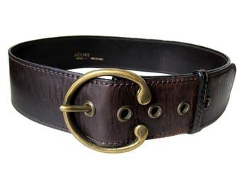 CELINE Paris belt wide leather Vintage 1960 1970