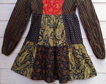 Vintage 60's Patchwork Mini Dress Young Edwardian by Arpeja XS