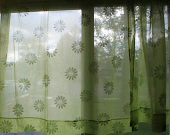 Vintage Green Flower Pattern Fuzzy Material Curtain Set