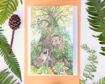 Frog greeting card - wildlife card - wildlife note card - tree frog painting - tree frog art - frog lover gift - green tree frog